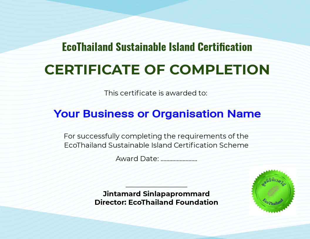 Sustainable certificate